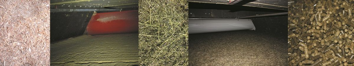Einsatzgebiet Bandtrockner - Application field belt dryer - Grastrocknung - Holztrocknung - Grass drying - wood drying
